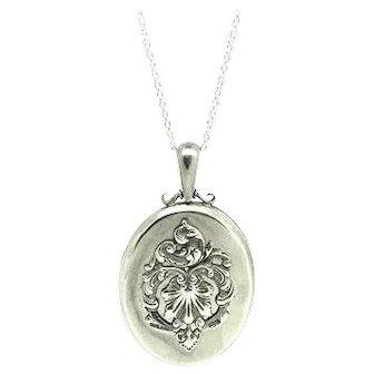 Antique Victorian 1859 Sterling Silver Large Locket Necklace