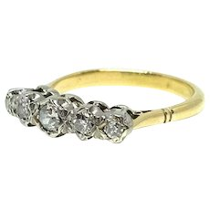 Antique Victorian Five Diamond 9ct Gold Engagement Ring