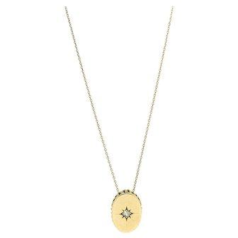 Antique Diamond Star 9ct Rose Gold Pendant Necklace