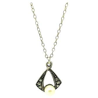 Vintage 1930s Faux Pearl Marcasite Silver Necklace