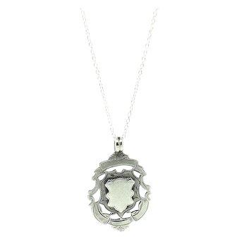 Antique Edwardian 1906 Medallion Silver Pendant Necklace