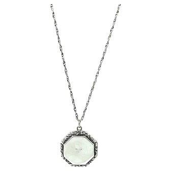 Vintage 1920s Art Deco Octagon Silver Locket Necklace