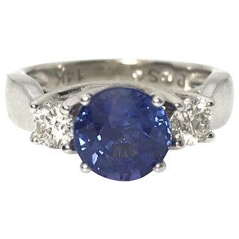 Large 1.84ct Sapphire & 0.375ctw Diamond 14kw Ring