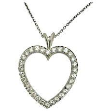Lovely Diamond Heart Pendant Platinum /White Gold Necklace