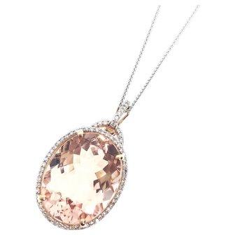 Stunning Large Morganite Pendant, 14kw Diamond