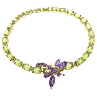14ky Peridot & Amethyst Dragonfly Bracelet