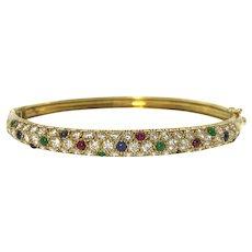18ky Diamond, Sapphire, Ruby & Emerald Bangle Bracelet