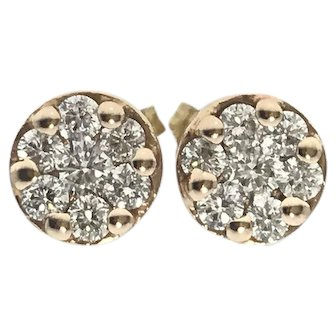 Super Cute 14K Rose Gold Cluster Earrings 1.25ctw SI/G-H