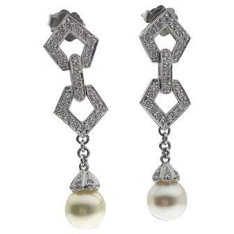 Elegant Diamond and Pearl Earrings