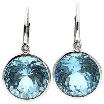 14kw Round Blue Topaz & Diamond Earrings