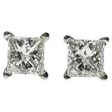 Princess Cut Diamond Studs -  0.65ctw