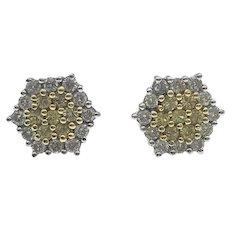 Yellow Diamond and White Diamond Cluster Earrings