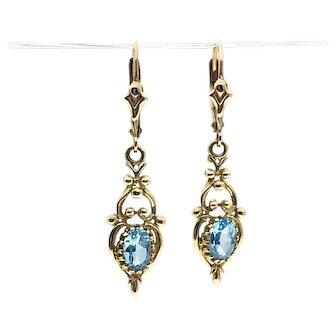 10ky  Blue Topaz Estate Earrings