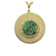 Mod 14ky Jade Disk Pendant Necklace