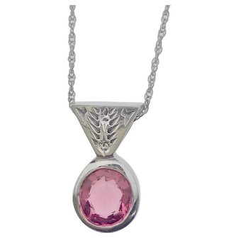 14kw Pink Spinel Necklace