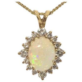 14ky Opal Diamond Necklace