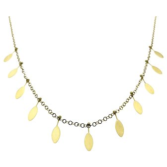14ky Chain Necklace with Leaf Shaped Drops