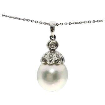 18kw Tahitian Pearl & Diamond Pendant Necklace