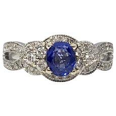 Beautiful 14kw Diamond & Sapphire Ring