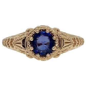 14k Rose Gold with Sapphire