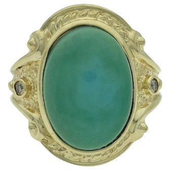 14ky Turquoise & Diamond Ring