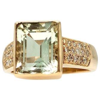 Stylish Green Quartz & 0.33ctw Diamond 14ky Ring