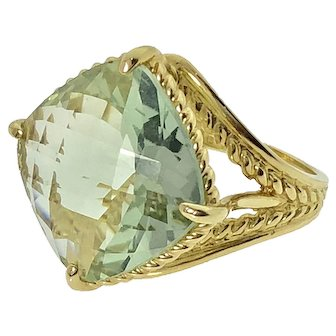 14ky 5.2ct Green Topaz Ring