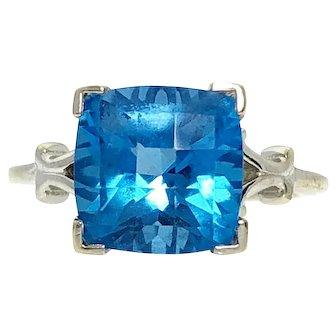 14kw Square Blue Topaz Ring