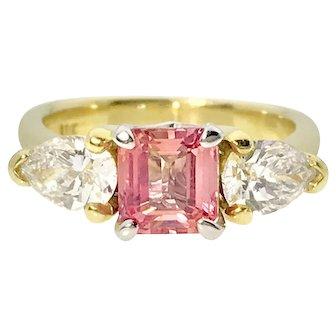 Vibrant Peach Sapphire and Pear Shape Diamonds 18ky Ring