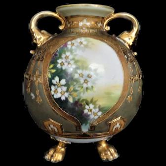 Antique Nippon Vase Panel Vase, Raised Gold, Floral, Circa 1911, BEAUTIFUL