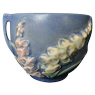 Roseville Pottery Foxglove Pattern, Blue, Double Handle Jardiniere 659-3 - MINT