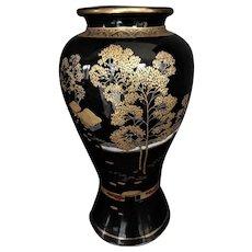 """Japanese Satsuma Hand Painted Vase Meiji Period Black Ground Gold. Marked  12"""""""