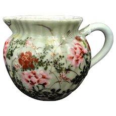 Antique Japanese Celadon Porcelain Milk Pitcher Flowers, Butterflies, Gold EC