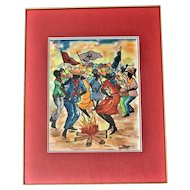 Haitian Watercolor, Dancing the Rara, During Holy Week, Signed by Artist