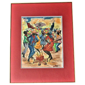 Ethnic Watercolor Dancing and Celebrating Around a Campfire, Signed Vanques