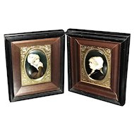 18th Century Painting on Porcelain, Portrait Paintings of Young Women, Amazing Detail, German