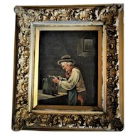 C. Graham, Oil on Canvas, Portrait of a Worker With Wine 19th Century, Antique