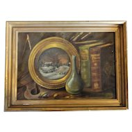 Victorian Still Life, Oil on Canvas, Initialed S A and Signed in Verso on Frame