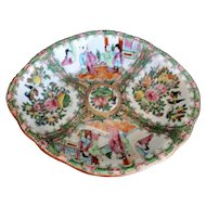19th C Chinese Export Platter Rose Medallion Scholars Birds Flowers Insects 10 1/8""