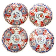 Imari Dish Hand Painted 6 Panel Bowls 19th C RARE All Have Different Motifs (4)