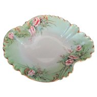 Stunning Haviland Limoges Large Bowl Pink Roses Hand Enamel Gold Trim c 1901