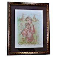 Edna Hibel (1917-2014) EVELYN'S JOY Lithograph, Fine Art Print Hand Signed W/COA Section I, 7/11 Gold on Rives Paper - Rare Piece