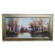 GEORGE H FLAVELLE American Watercolor Vivid Landscape w/ Brook Beautiful!  Excellent Condition