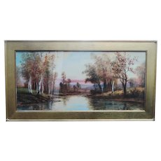GEORGE H FLAVELLE American Watercolor Vivid Landscape w/ Brook Beautiful!  Excellent Condition