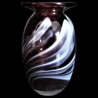 Robert Burch Art Glass Vase Ruby Red Broad Rim OOAK Signed Burch 07 - Vermont Glass Artist