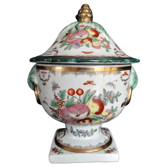 Chinese Covered Bowl or Tureen, Floral Design, Mid Century, Gold Gilt, Hand Painted