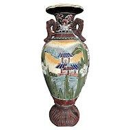 Japanese Satsuma Vase Earthenware Bottle Form Meiji Period 19th20th C