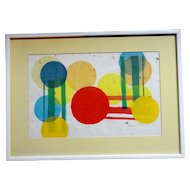 Abstract Watercolor Topsfield Fair Massachusetts Title Balloons Signed