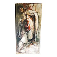 """Bernard Locca (1926-1997) Oil on Canvas 41"""" Tall Signed and Dated 1959"""