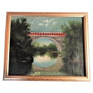 19th Century Oil on Canvas, Arched Bridge over a River, Landscape